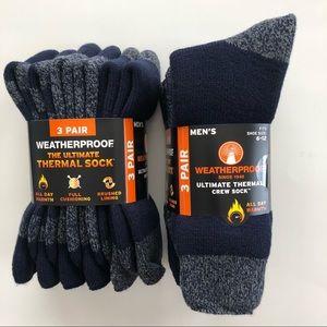 Weatherproof Ultimate Thermal Crew Socks Blue NWT